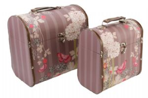 Laura Darrington Design Brown Flower Domed Storage Box 2686 Available as a set or Individually.